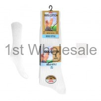 6 PACK BANDROLL 100% COTTON SOCKS IN WHITE
