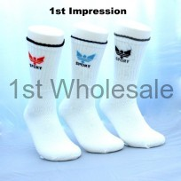 3 PACK CROWN MOTIF WHITE SPORT SOCKS