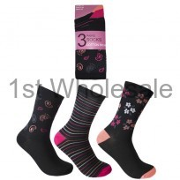 LADIES DESIGN SOCKS FLOWER PRINT