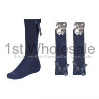 KNEE HIGH LYCRA WITH RIBBON BOW - NAVY