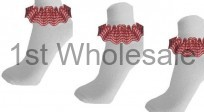 GINGHAM LACE SOCKS RED