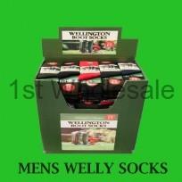 MENS WELLINGTON SOCKS IN DUMP BIN