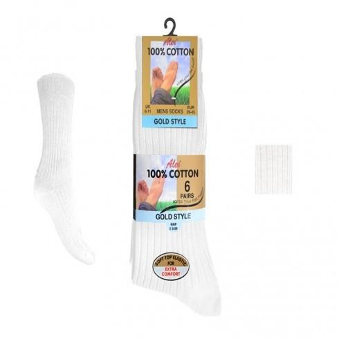 6 PACK100% COTTON SOCKS IN WHITE