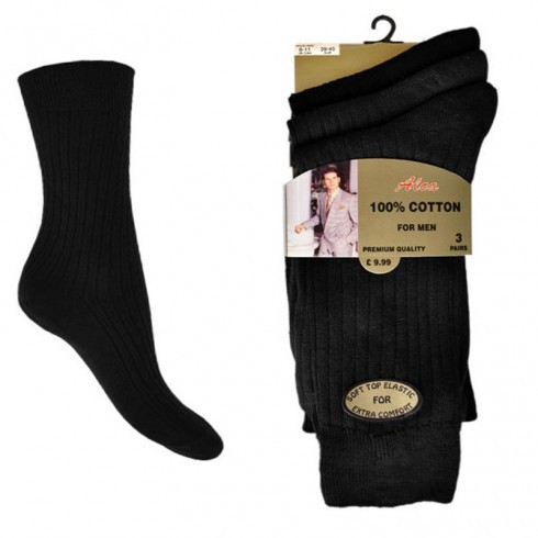 BLACK 3 PACK CASCADE 100% COTTON SOCKS