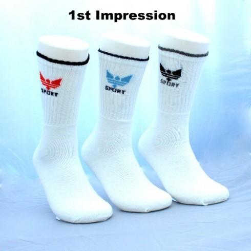 3 PACK CROWN MOTIF WHITE SPORT SOCKS