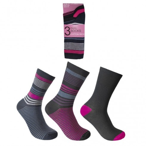 LADIES DESIGN SOCKS STRIPED