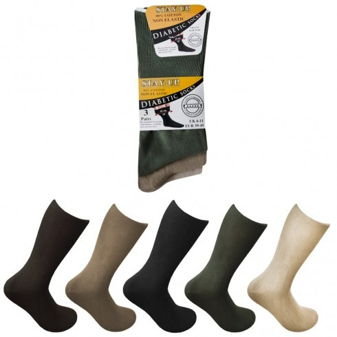 MENS COTTON DIABETIC SOCKS ASSORTED COLOURS