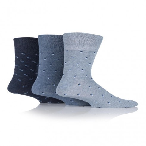 GENTLE GRIP BLUE SQUARED DESIGN SOCKS