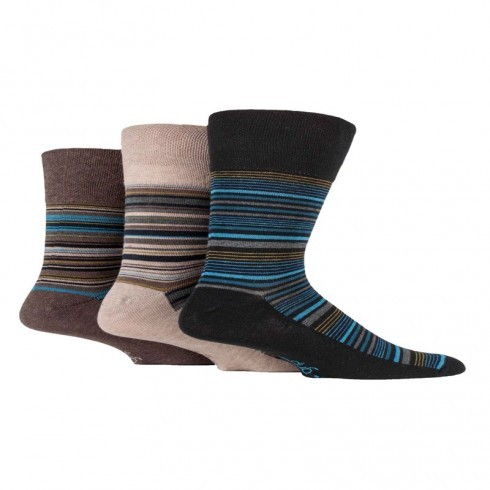 GENTLE GRIP BROWN STRIPES DESIGN SOCKS