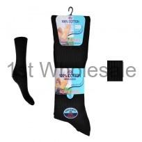 Non-Elastic 100% Cotton Rib Socks Black