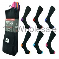 6 PACK COLOUR HEEL & TOE SOCKS