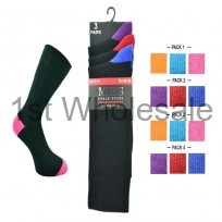 3 PACK COLOUR HEEL & TOE SOCKS