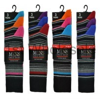 3 PACK STRIPED COLOUR HEEL & TOE SOCKS