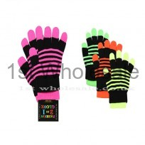 2 IN 1 NEON STRIPED GLOVES