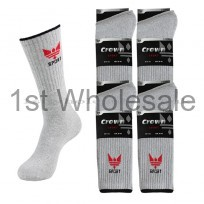 3PACK CROWN MOTIF GREY SPORT SOCKS
