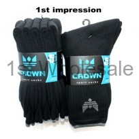 MENS 5 PACK CROWN BLACK SPORT SOCKS
