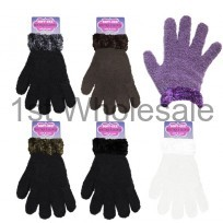 LADIES SOFT AND COSY GLOVES WITH FUR CUFF