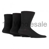 GENTLE GRIP PLAIN BLACK SOCKS