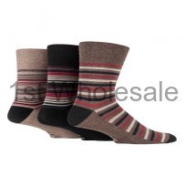 GENTLE GRIP SOFT BROWN STRIPES DESIGN SOCKS