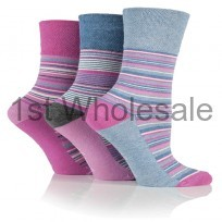 LADES STRIPE DESIGN GENTLE GRIP SOCKS