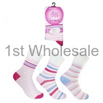 LADIES NON ELASTICATED STRIPE SOCKS
